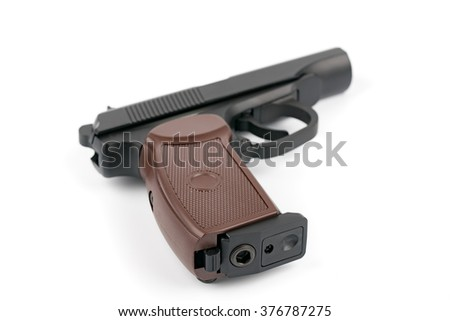 The Makarov pistol or PM is a Russian semi-automatic pistol, it became the Soviet Union's standard military and police side arm from 1951 - stock photo