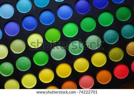 The Makeup palette. Close up, shallow DOF. - stock photo