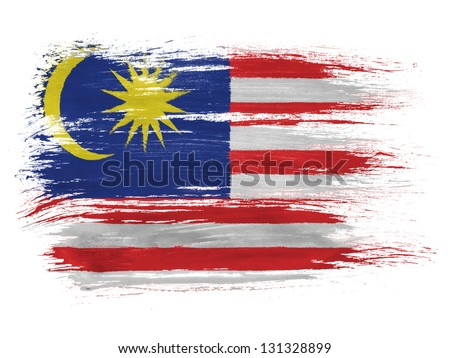 The Malaysia flag  on white background - stock photo