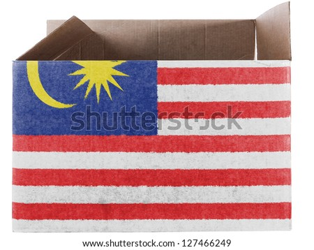 The Malaysia flag  painted on carton box or package - stock photo