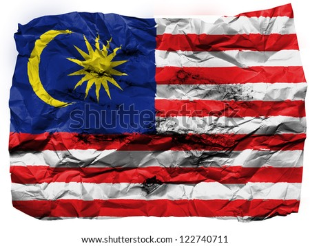 The Malaysia flag  painted on crumpled paper - stock photo