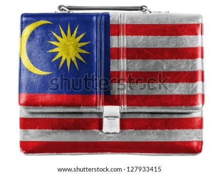 The Malaysia flag  painted on small briefcaseor leather handbag - stock photo