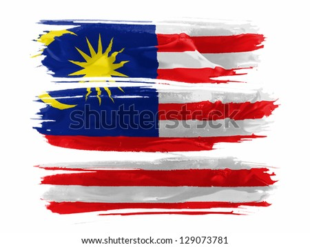 The Malaysia flag  painted with three strokes of paint in white