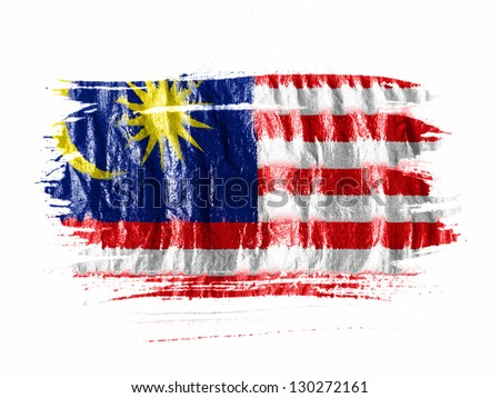 The Malaysia flag  painted with watercolor on wet white paper