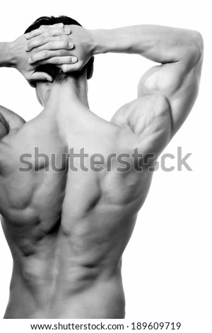 The male back isolated on white background. - stock photo