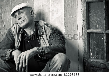 The male is in a depression condition - stock photo