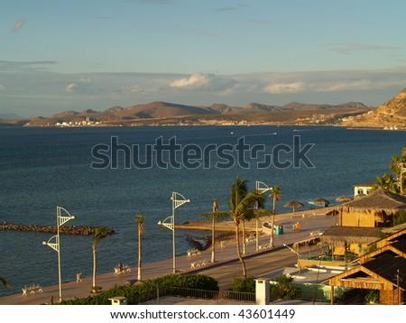 The Malecon harbor front road in La Paz, Baja, Mexico - stock photo