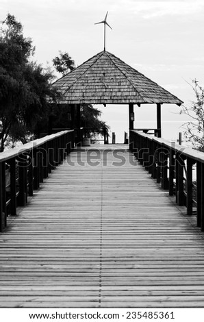 The Malecon harbor front road in Lake Chapala pier in Chapala, Jalisco, Mexico - stock photo