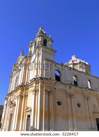 The Malta Cathedral in Mdina built in the 15th Century - stock photo