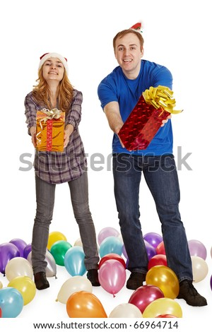 The man and the woman give gifts isolated on a white background - stock photo