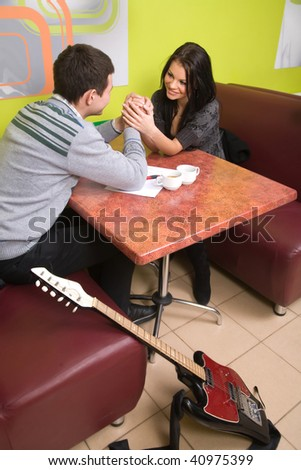 The man and the woman in cafe