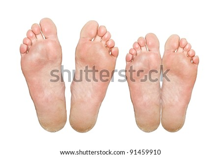The man and woman. Caucasian feet. Isolated over white background