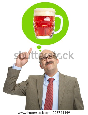 The man dreams of a glass with barmy beer - stock photo