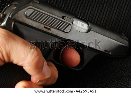The man hand in holding action of old and dirty automatic gun represent the weapon abstract concept related idea.