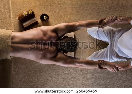 The man has massage - stock photo