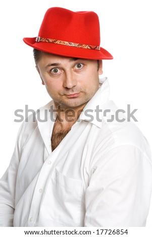 The man in a red hat on a white background - stock photo