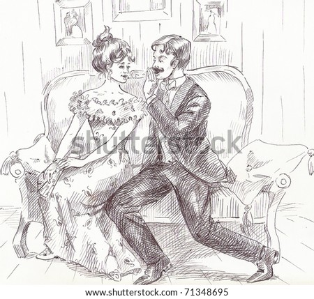 The man in a suit tells interesting stories to the young girl in a dress