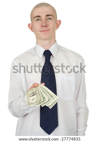 The man in a white shirt with money in a hand - stock photo