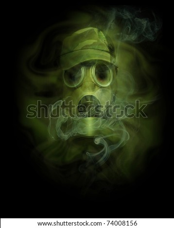 the man in anti-gas mask in vapours of gas - stock photo