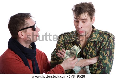 The man in black glasses offers money soldier in camouflage - stock photo