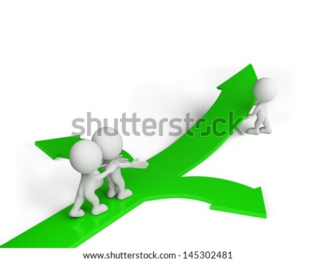 The man is pointing the right direction. 3D image. White background.