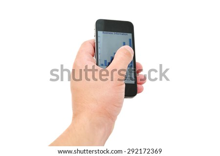 The man is touching the screen of his phone