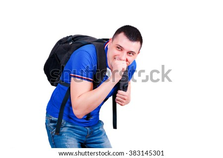 The man laughs at others. A situation in educational institution. Ridiculous situation. - stock photo