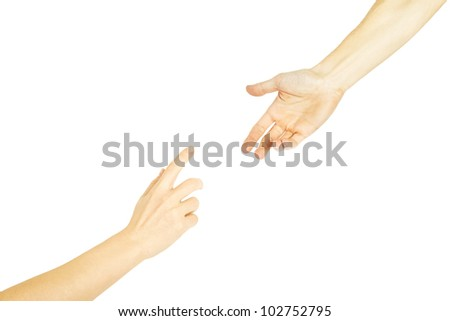 The man offers a hand to the woman on a white background - stock photo
