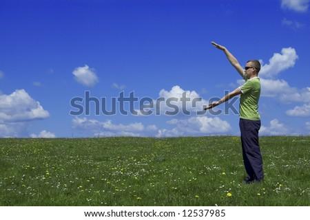 the man on flower field - stock photo