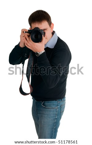 The man photographs, on white background