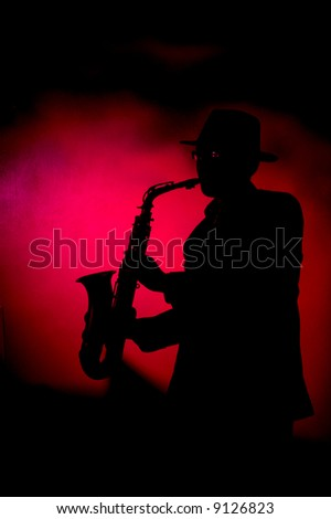 the man playing sax - stock photo
