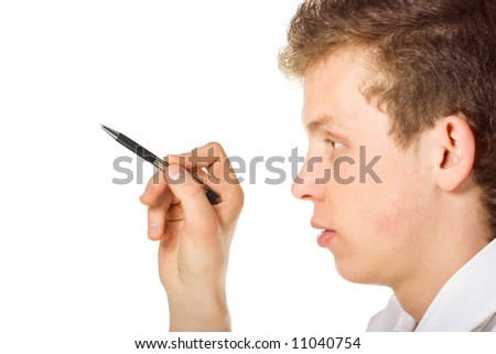 The man points - stock photo