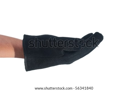 The man's hand in a black glove made of cloth, is stretched palm up.