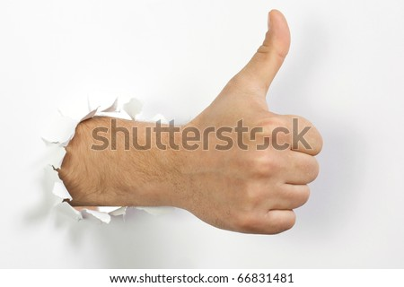 The man's hand is isolated on a white background - stock photo