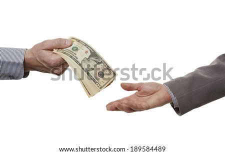 The man´s hand with dollars notes. Clipping path