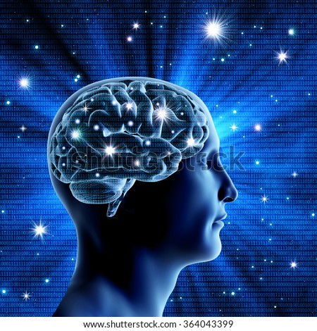 The man's head and brain on a blue background with bright stars. Bright flashes of neurons. Binary code. A high resolution.