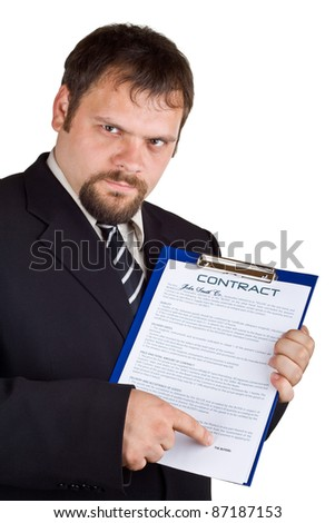 The man shows on a contract, isolated on white.