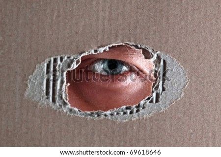The man spies through a hole in a cardboard box - stock photo