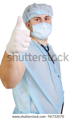 The man the doctor in the medical form on the isolated white background