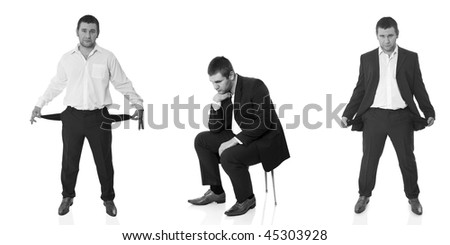 The man who has got to the difficult situation, three variants on isolated white background - stock photo