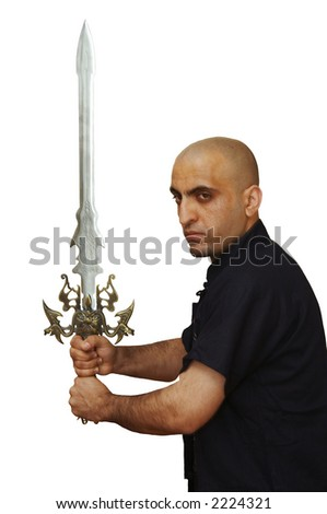 The man with a fantastic sword - stock photo