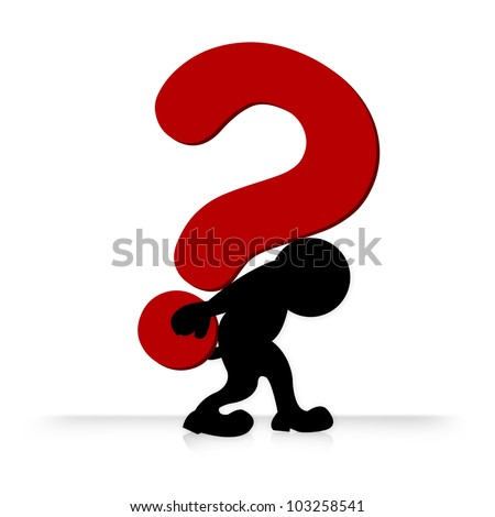 The Man With Heavy Question Mark on His Back , Business Concept for Question Isolate on White Background - stock photo