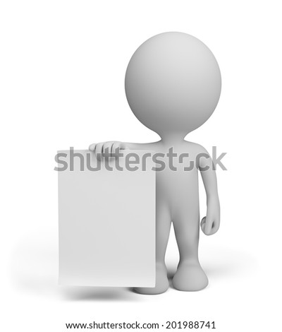 The man with the ad in hand. 3d image. White background.