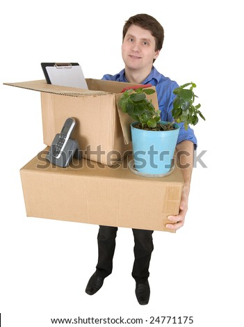 The man with the big box and a window plant in hands on white