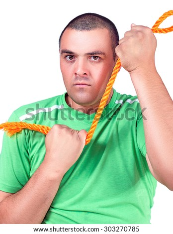 the man with the rope in hand on white background - stock photo