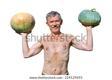 The man with two pumpkins in his hands. Isolated on white. - stock photo