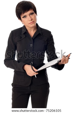 The manager with white blank paper in the hands making a presentation