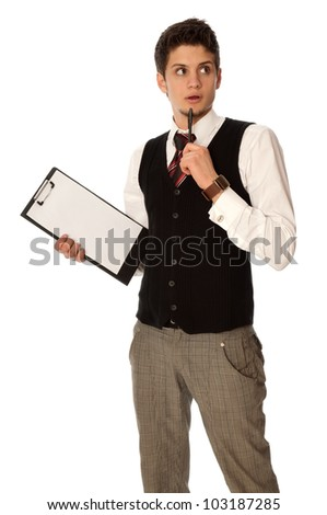 The manager with white blank paper think about new innovative idea - stock photo