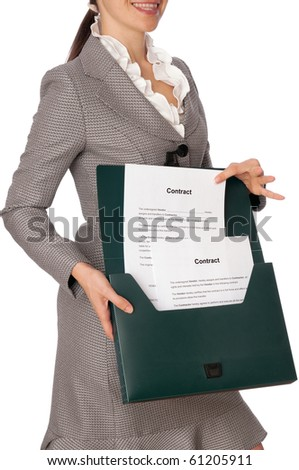 The managing director holds the contract in the hands - stock photo