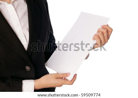 The managing director holds the white blank paper in the hand - stock photo